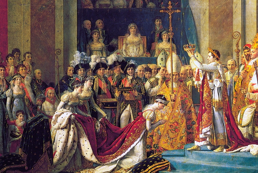 The Coronation of Napoleon, by Jacques-Louis David 1807. Letizia is painted on the balcony in the middle. In reality she did not attend the ceremony.