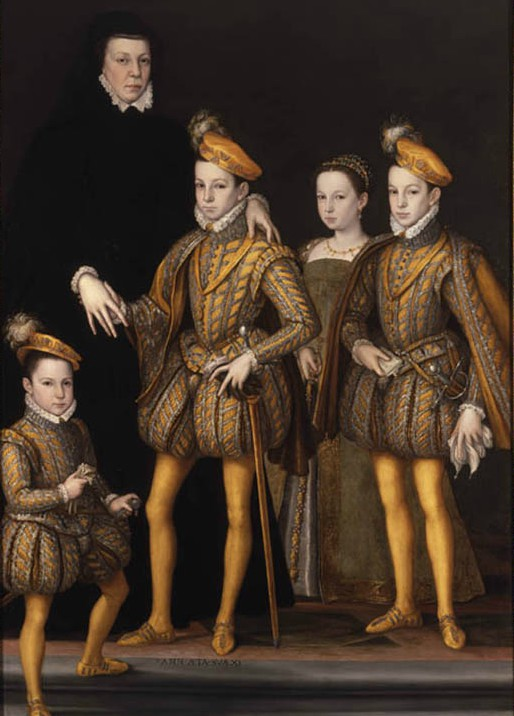 Catherina de Medici with the four of her children that accessed the throne of France