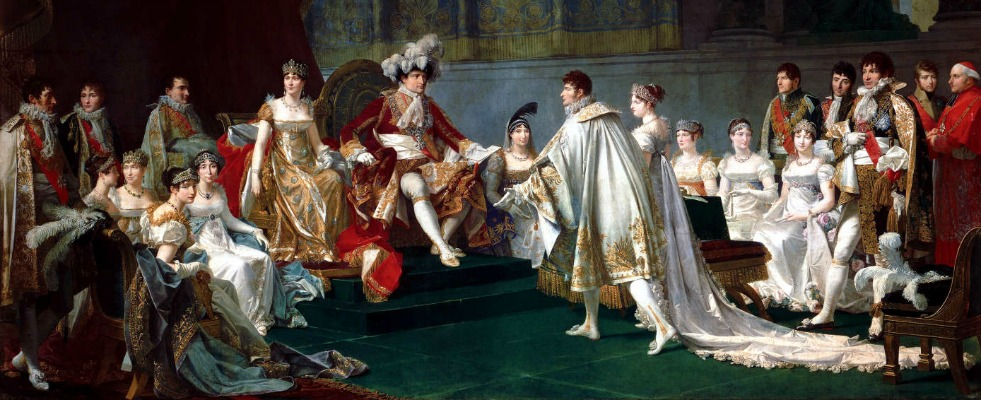 The whole imperial family is complete at the wedding of Jerome Bonaparte and Catherine of Wurttemberg, painted by by Jean-Baptiste Regnault (1754-1829)