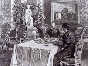 Emperor Franz Joseph and Empress Elisabeth having breakfast in the Hofburg, painted by  Theo Zasche