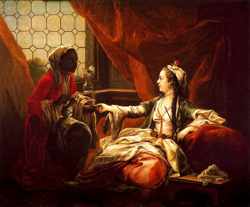 Madame de Pompadour as Sultana Taking Coffee, painting by van Loo