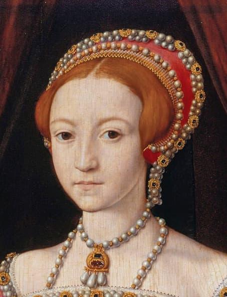 Elisabeth I as a princess, wearing a French hood