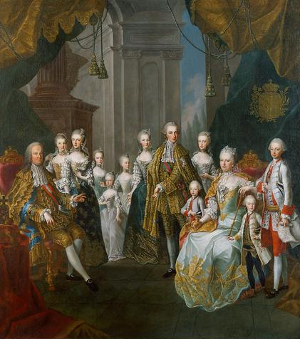 The imperial family in 1754, painted by Martin van Meytens. Francis and Maria Theresa with eleven children.