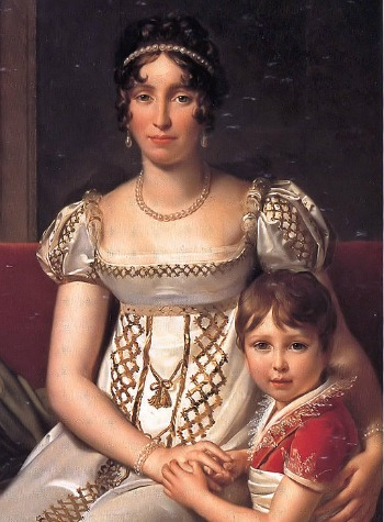Hortense de Beauharnais, Queen Consort of King Lodewijk I of Holland.  On the picture her firstborn son Napoleon Charles Bonaparte who died in May 1807