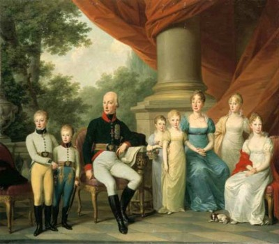The Austrian imperial family around 1805, by Joseph Kreutzinger.  On the rights is Archduchess Maria Louise, the later Empress Marie Louise of France