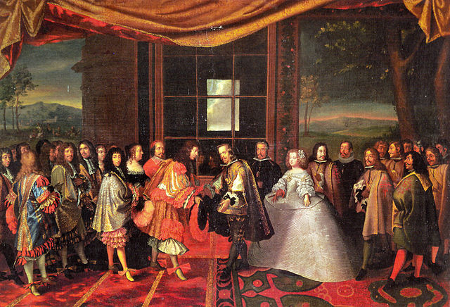 Meeting of Louis XIV and Phillip IV on the island of Fiasans in 1660 - painting by Jacques Laumosnier