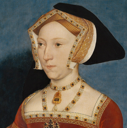 Jane Seymour, wearing an English Hood with one of the veils pinned up