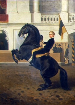 Crown Prince Rudolf on horseback at the same shool