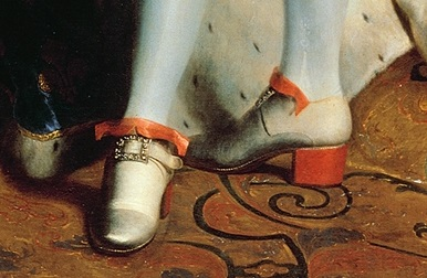 Red high heels; only the King and some of his favourites were allowed to wear them at Versailles