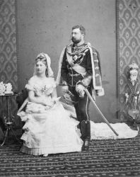 The official wedding picture of Princess Louise of Belgium and Prince Philip of Saxe-Coburg and Gotha, 4 May 1875