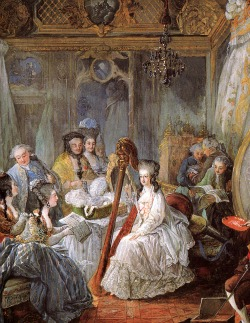 Marie Antoinette playing harp at one of her soirees at Versailles Palace.