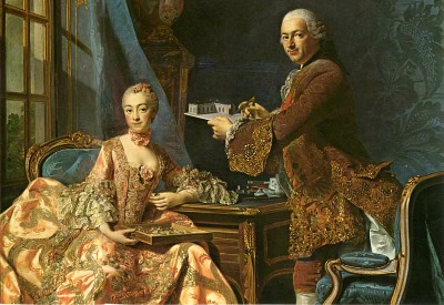Marquise de Pompadour and her brother Marquis de Marigny by Roslin 1754