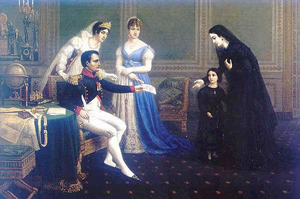 Napoleon, Josephine and Hortense recieving guests at court