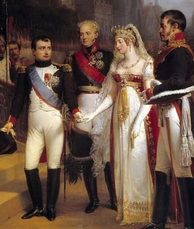 Napoleon (left) and Emperor Alexander I (the curly blonde next to him) meet the king and queen of Prussia for the signing of the peace treaty at Tilsit, 1807