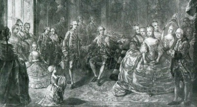 Louis XV, Louis Auguste and other members of the royal family look at the portret of maria Antonia