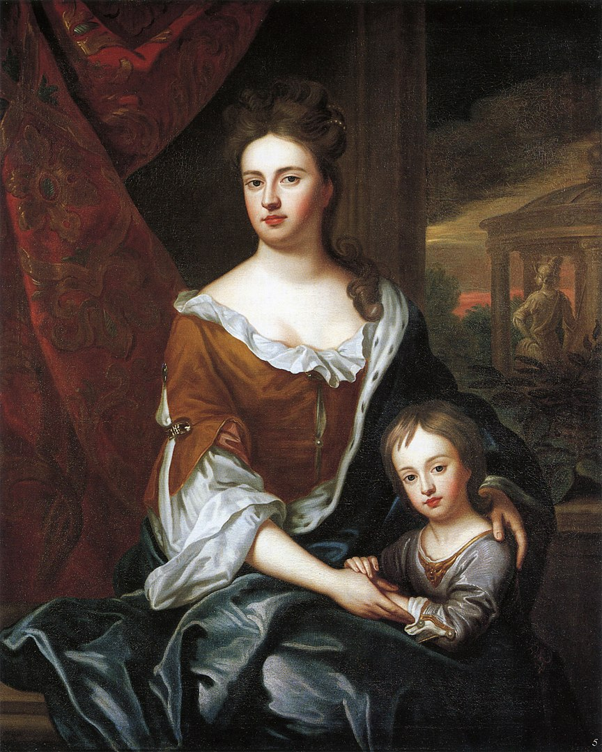 Princess Anne and her only surviving child, Prince William the Duke of Gloucester, by Sir Godfrey Kneller ca. 1694
