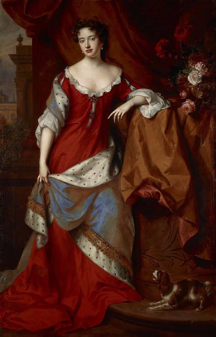 Queen Anne in 1684 when she was still Princess of Denmark. Painted by Willem Wissing and Jan van der Vaardt