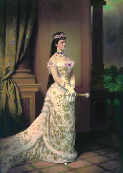 Empress Elisabeth in 1879, by George Raab. She is wearing a bustle dress.