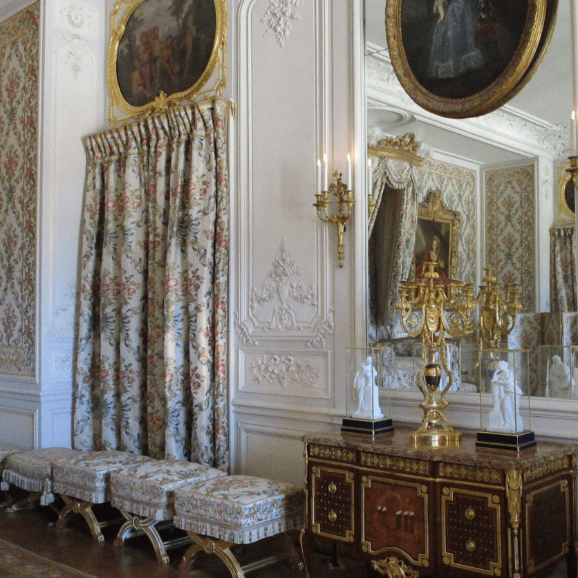 Tabourets in Versailles, waiting for Duchesses to sit in them.
