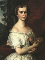 This painting shows Elisabeth of Bavaria holding a medallion with the picture of Franz Joseph.