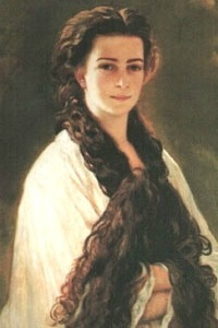 Empress Elisabeth with her hair down by Franz Xaver Winterhalter, 1865. This was the favorite painting of Franz-Joseph.