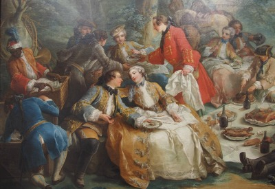 King Louis XV with three of the four Nesle Sisters he had an affair with. He is talking to Pauline Nesle, her sisters Diana and Louise are watching the couple closely! By Charles André van Loo