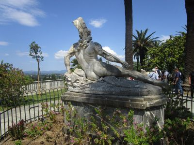 Statue of the wounded Achilles at the gardens of Achilleion Palace