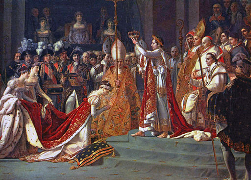 Napoleon crowns Josephine de Beauharnais to be his empress on December 2, 1804. Paining by Jacques Louis David