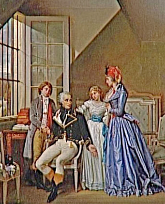 Visit of Josephine and her children to her husband in the prison of Luxembourg, 1794 by Hector Viger. This is an imaginary piece, Josephine never visited Alexandre, she was in prison herself.