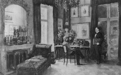 Emperor Franz Joseph at his office at the Kaiservilla.