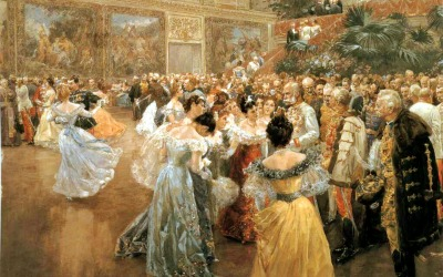 Hofball in Wien by Wilhelm Gause. Emperor Franz Jospeh surrounded by ladies