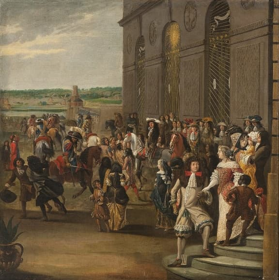 Louis XIV in the gardens of Versailles surrounded by members of the court.