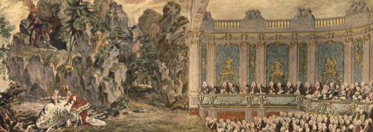 Madame de Pompadour performing at the theatre built on the Ambassador's Stairs in Versailles