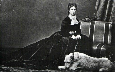 Sisi in 1867 with her dog Shadow, by Emil Raberding