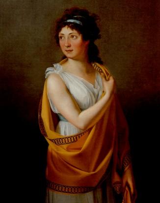 Madame Theresa Tallien, best friend of Josephine de Beauharnais, wearing a greek dress in directoire style